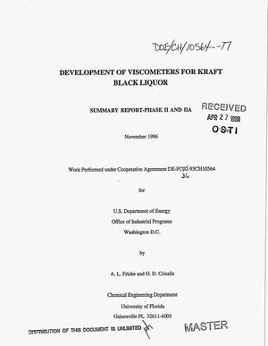Primary view of object titled 'Development of viscometers for kraft black liquor. Summary report, Phase 2 and 2A'.