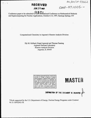Primary view of object titled 'Computational chemistry in Argonne`s Reactor Analysis Division'.
