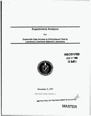 Primary view of object titled 'Supplement analysis for Greenville Gate access to Kirschbaum Field at Lawrence Livermore National Laboratory'.