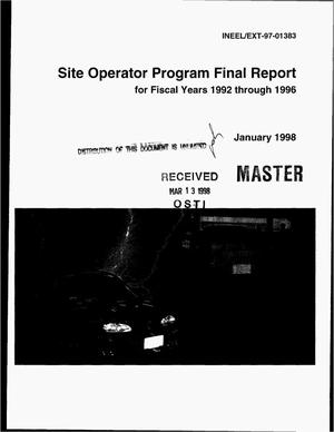 Primary view of object titled 'Site operator program final report for fiscal years 1992 through 1996'.