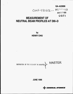 Primary view of object titled 'Measurement of neutral beam profiles at DIII-D'.