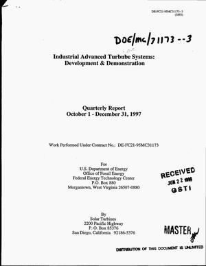 Primary view of object titled 'Industrial advanced turbine systems: Development and demonstration. Quarterly report, October 1--December 31, 1997'.