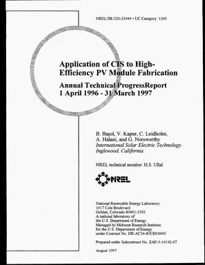 Primary view of object titled 'Application of CIS of high-efficiency PV module fabrication. Annual technical progress report, April 1, 1996--March 31, 1997'.