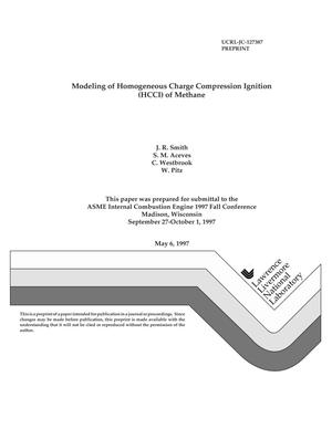 Primary view of object titled 'Modeling of homogeneous charge compression ignition (HCCI) of methane'.