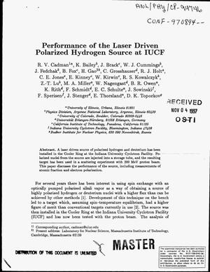 Primary view of object titled 'Performance of the laser driven polarized hydrogen source at IUCF'.