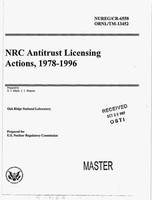 Primary view of object titled 'NRC antitrust licensing actions, 1978--1996'.