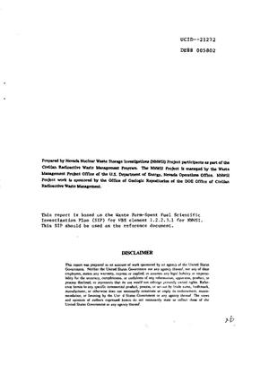 Primary view of object titled 'Plan for spent fuel waste form testing for NNWSI [Nevada Nuclear Waste Storage Investigations]'.