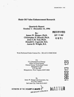 Primary view of object titled 'Shale oil value enhancement research. Fourth quarterly report, 1996'.