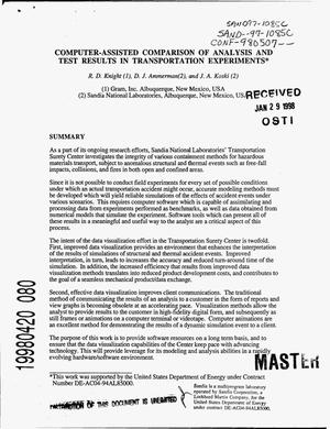 Primary view of object titled 'Computer-assisted comparison of analysis and test results in transportation experiments'.