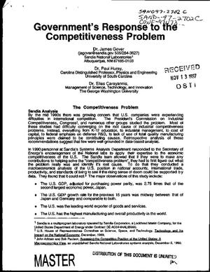 Primary view of object titled 'Government`s response to the competitiveness problem'.
