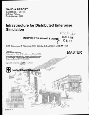 Primary view of object titled 'Infrastructure for distributed enterprise simulation'.