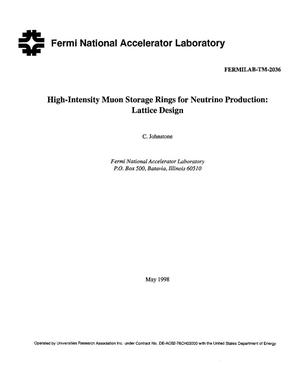 Primary view of object titled 'High intensity muon storage rings for neutrino production: Lattice design'.