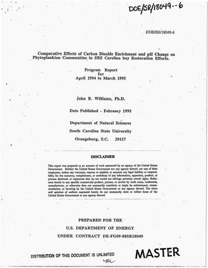 Primary view of object titled 'Comparative effects of carbon dioxide enrichment and pH change on phytoplankton communities in SRS Carolina bay restoration efforts. Progress report, April 1994--March 1995'.