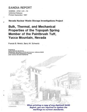 Primary view of object titled 'Bulk, thermal, and mechanical properties of the Topopah Spring Member of the Paintbrush Tuff, Yucca Mountain, Nevada'.