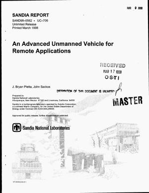 Primary view of object titled 'An advanced unmanned vehicle for remote applications'.