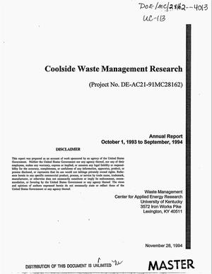 Primary view of object titled 'Coolside waste management research. Annual report, October 1, 1993--September 1994'.