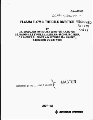 Primary view of object titled 'Plasma flow in the DIII-D divertor'.