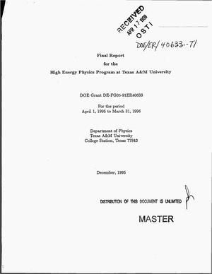 Primary view of object titled 'High energy physics program at Texas A&M University. Final report, April 1, 1995--March 31, 1996'.