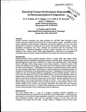 Primary view of object titled 'Electrical Contact Performance Degradation in Electromechanical Components'.