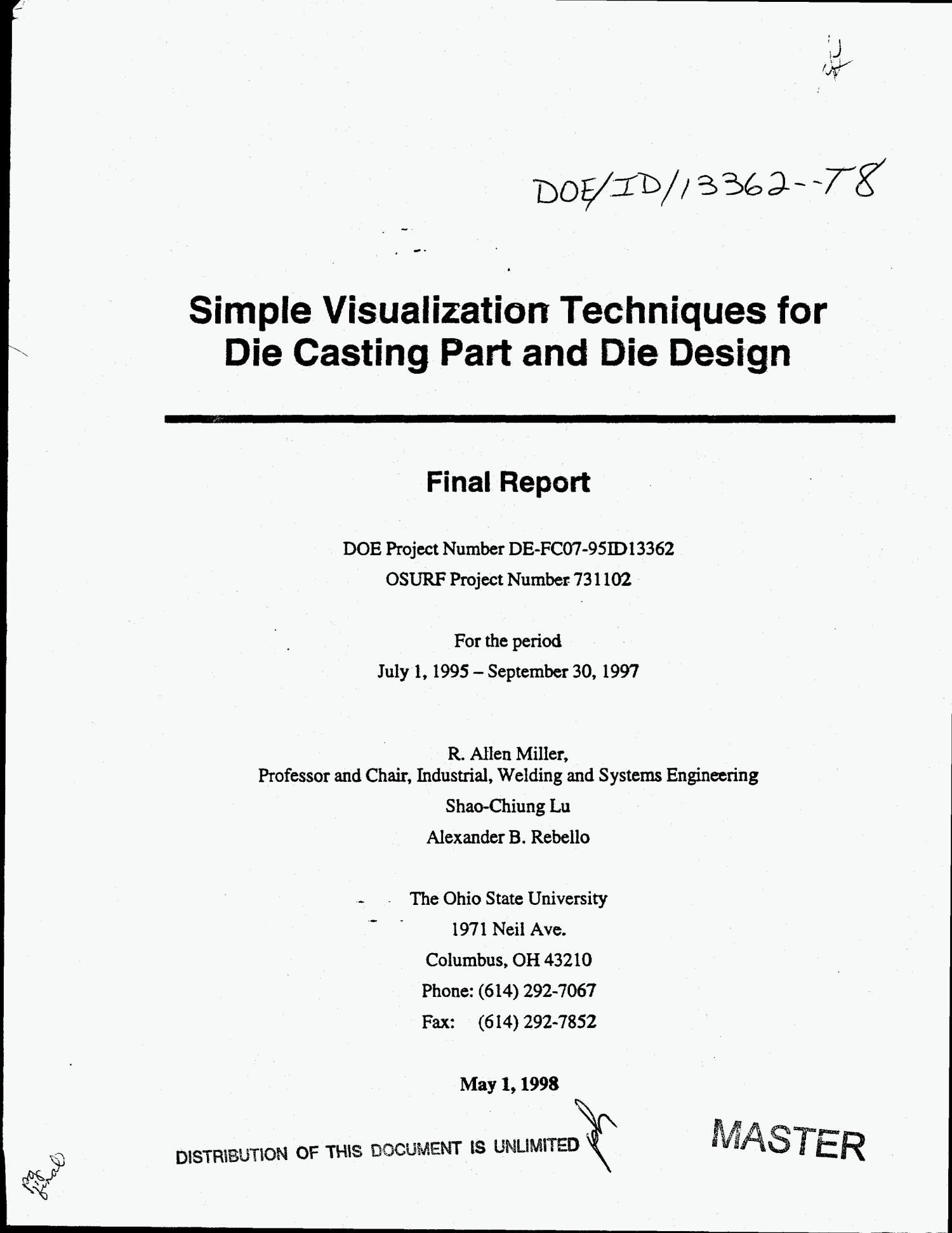 Simple visualization techniques for die casting part and die design. Final report, July 1, 1995--September 30, 1997                                                                                                      [Sequence #]: 1 of 220