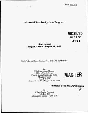 Primary view of object titled 'Advanced turbine systems program. Final report, August 3, 1993--August 31, 1996'.