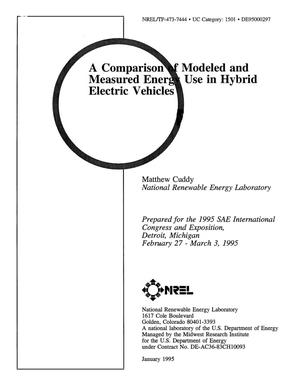Primary view of object titled 'A comparison of modeled and measured energy use in hybrid electric vehicles'.