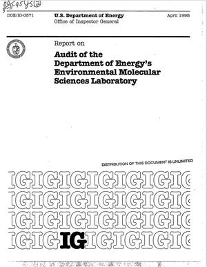 Primary view of object titled 'Audit of the Department of Energy`s Environmental Molecular Sciences Laboratory'.