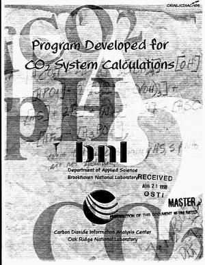 Primary view of object titled 'Program developed for CO{sub 2} system calculations'.