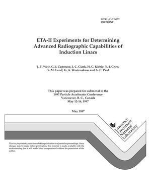 Primary view of object titled 'ETA-II experiments for determining advanced radiographic capabilities of induction linacs'.
