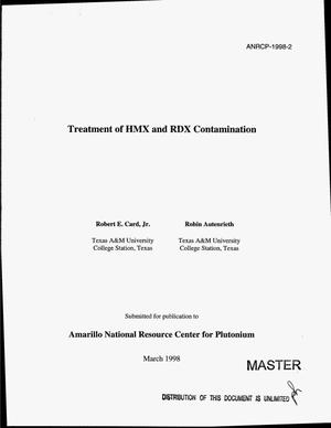 Primary view of object titled 'Treatment of HMX and RDX contamination'.
