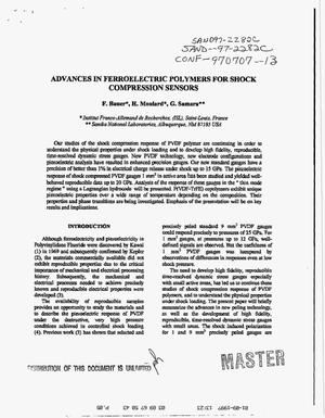 Primary view of object titled 'Advances in ferroelectric polymers for shock compression sensors'.
