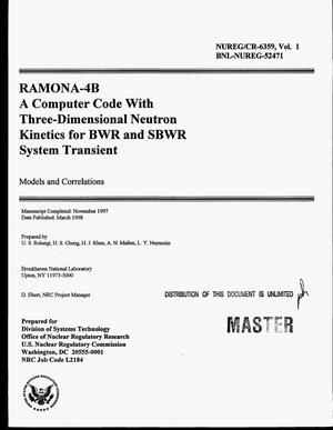 Primary view of object titled 'RAMONA-4B a computer code with three-dimensional neutron kinetics for BWR and SBWR system transient - models and correlations'.