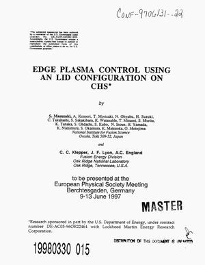 Primary view of object titled 'Edge plasma control using an LID configuration on CHS'.