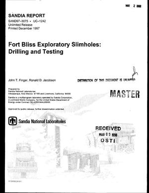 Primary view of object titled 'Fort Bliss exploratory slimholes: Drilling and testing'.