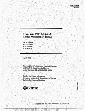 Primary view of object titled 'Fiscal year 1993 1/25-scale sludge mobilization testing'.