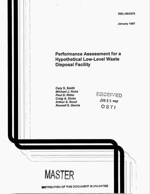 Primary view of object titled 'Performance assessment for a hypothetical low-level waste disposal facility'.