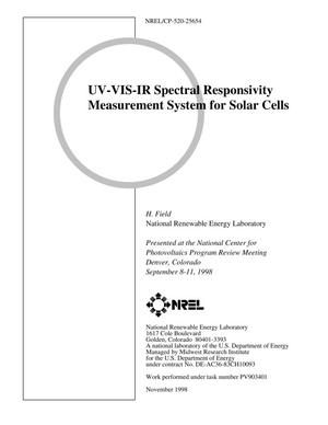 Primary view of object titled 'UV-VIS-IR Spectral Responsivity Measurement System for Solar Cells'.