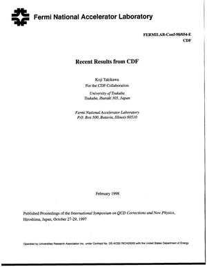 Primary view of object titled 'Recent results from CDF'.