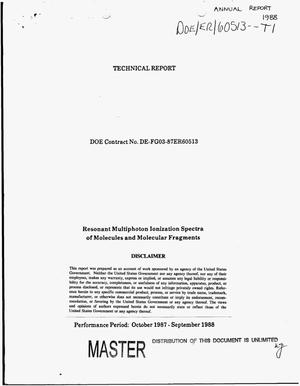 Primary view of object titled 'Resonant multiphoton ionization spectra of molecules and molecular fragments. Technical report, October 1987--September 1988'.