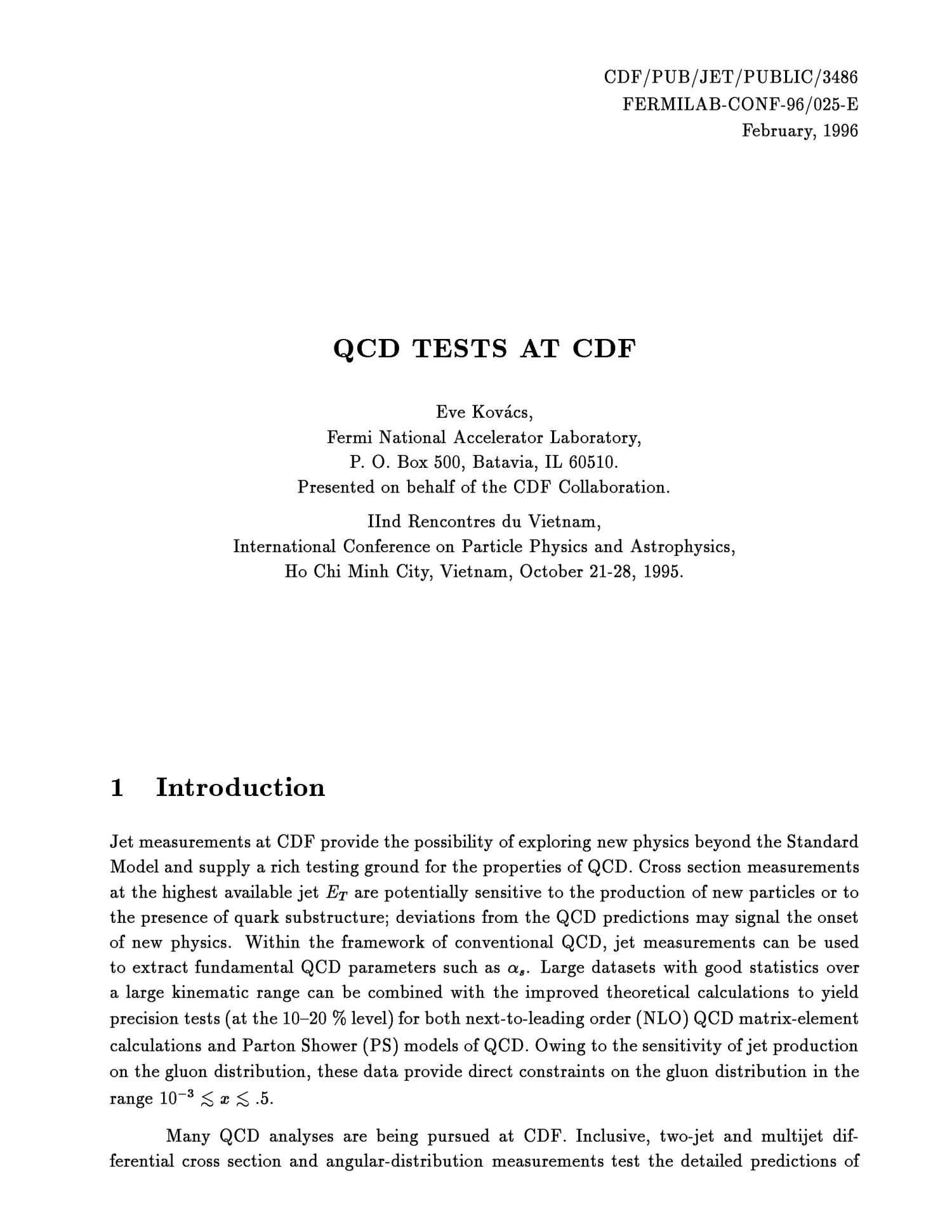 QCD tests at CDF                                                                                                      [Sequence #]: 3 of 10