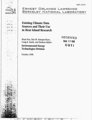 Primary view of object titled 'Existing climate data sources and Their Use in Heat IslandResearch'.
