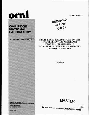 Primary view of object titled 'State-level evaluations of the Weatherization Assistance Program in 1990-1996: a metaevaluation that estimates national savings'.