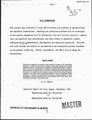 Primary view of object titled 'H.E. formulation. Quarterly report, July--September, 1964'.