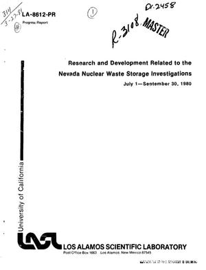 Primary view of object titled 'Research and development related to the Nevada nuclear waste storage investigations. Progress report, July 1-September 30, 1980'.