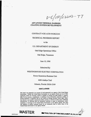 Primary view of object titled 'Advanced thermal barrier coating system development. Technical progress report, April 1, 1996--May 31, 1996'.