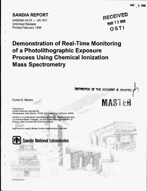 Primary view of object titled 'Demonstration of real-time monitoring of a photolithographic exposure process using chemical ionization mass spectrometry'.