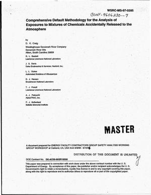 Primary view of object titled 'Comprehensive default methodology for the analysis of exposures to mixtures of chemicals accidentally released to the atmosphere'.