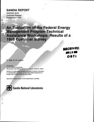 Primary view of object titled 'An Evaluation of the Federal Energy Management Program Technical Assistance Workshops: Results of a 1998 Customer Survey'.