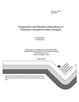 Primary view of object titled 'Temperature and moisture dependence of dielectric constant for silica aerogels'.