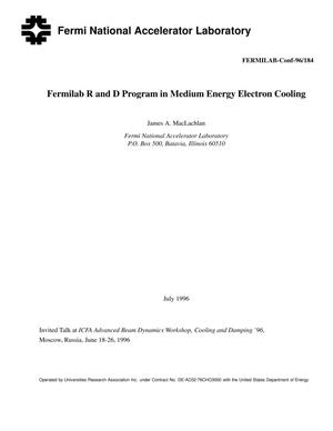 Primary view of object titled 'Fermilab R{ampersand}D program in medium energyelectron cooling'.
